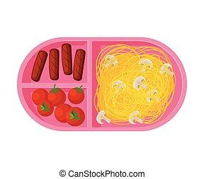 лоток, вектор, выше, посмотреть, students, sausages, питание, kids, здоровый, помидоры, заполненный, макаронные изделия, еда, квартира, иллюстрация