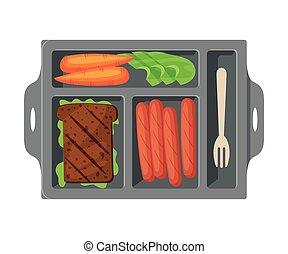 лоток, вектор, выше, посмотреть, students, sausages, питание, kids, здоровый, vegetables, сэндвич, заполненный, еда, квартира, иллюстрация