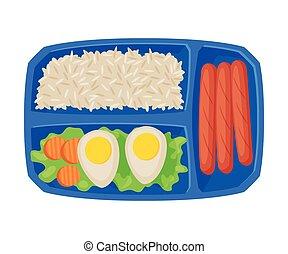 лоток, вектор, рис, выше, посмотреть, students, яйцо, kids, питание, здоровый, заполненный, sausages, еда, квартира, иллюстрация