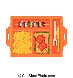 лоток, вектор, французский, выше, посмотреть, students, барбекю, сэндвич, питание, kids, fries, заполненный, еда, квартира, иллюстрация