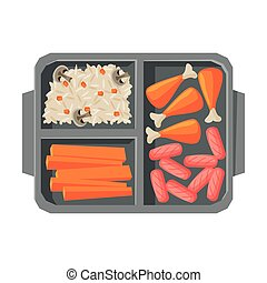 лоток, drumsticks, вектор, выше, посмотреть, students, sausages, питание, kids, курица, рис, заполненный, еда, квартира, иллюстрация