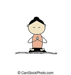 лотос, йога, женщина, practicing, поза