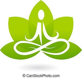 лотос, логотип, йога, /, значок