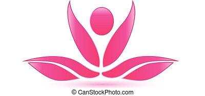 лотос, розовый, йога, фигура, логотип