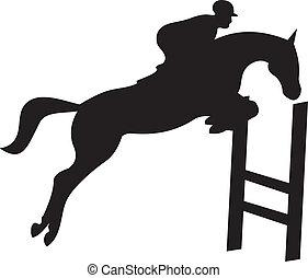 лошадь, вектор, силуэт