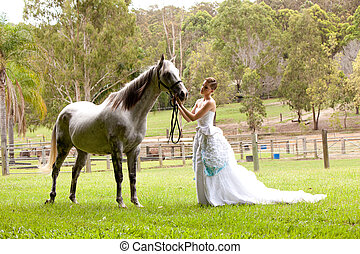 лошадь, женщина, белый, молодой