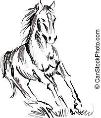 лошадь, иллюстрация