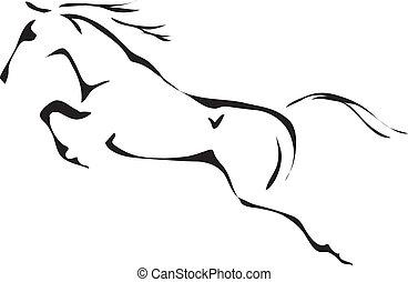 лошадь, прыжки, вектор, черный, белый, outlines