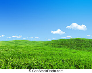 луг, природа, -, коллекция, зеленый, шаблон