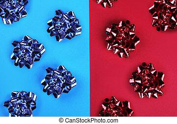 лук, яркий, красный, цветной, синий, задний план