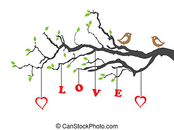 люблю, дерево, два, birds