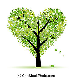 люблю, лист, дерево, hearts, валентин