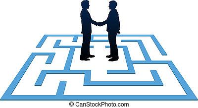люди, бизнес, найти, лабиринт, встреча, solution