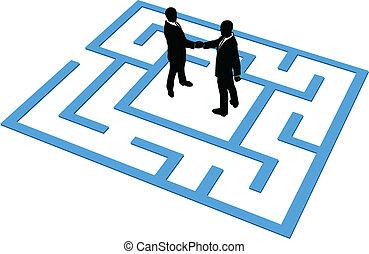 люди, бизнес, найти, подключение, команда, лабиринт