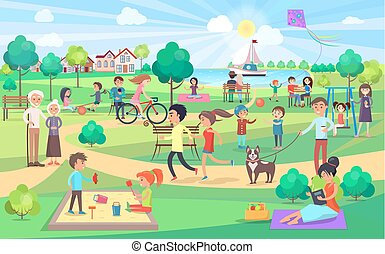 люди, большой, все, день, парк, зеленый, хороший, ages