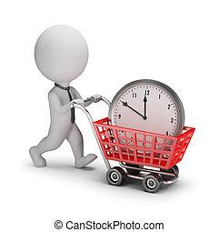 люди, -, время, маленький, бизнесмен, купил, 3d