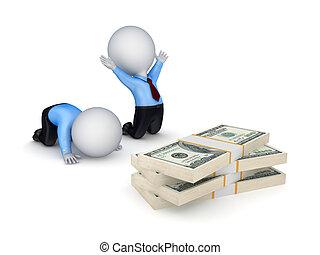 люди, доллар, packs., 3d, маленький