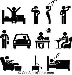 люди, ежедневно, знак, рутина, значок, человек