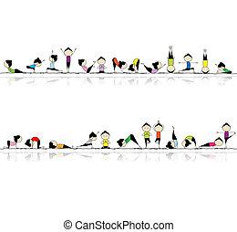 люди, йога, ваш, задний план, бесшовный, practicing, дизайн