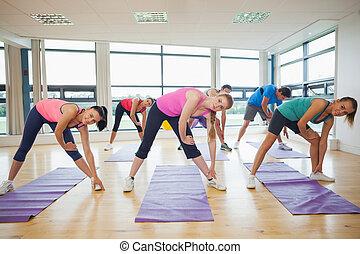 люди, йога, руки, класс, растягивание, фитнес, студия