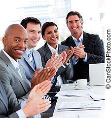 люди, команда, успешный, applauding, бизнес, multi-ethnic