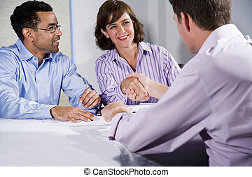 люди, люди, три, shaking, бизнес, руки, встреча