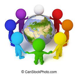 люди, мир, -, маленький, земля, 3d