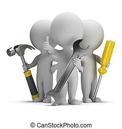 люди, -, отлично, маленький, repairers, 3d