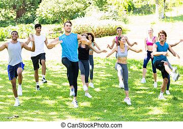 люди, парк, exercising