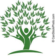 люди, природа, дерево, зеленый, логотип, значок
