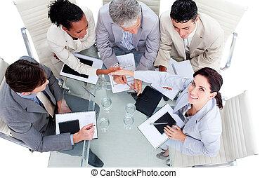 люди, руки, бизнес, улыбается, международный, shaking