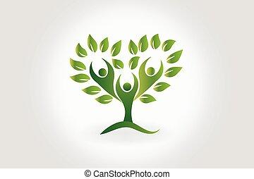люди, символ, дерево, командная работа, leafs, логотип