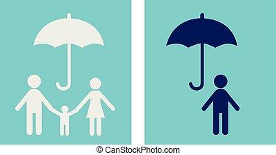 люди, страхование, жизнь, concept., значок, семья, vector., защита, дизайн