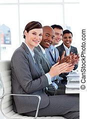 люди, хлопающий, команда, успешный, бизнес