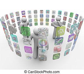 люди, walls, трогать, программы, выберите, projected, экран