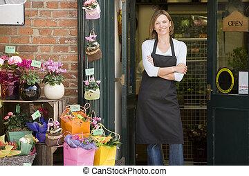 магазин, женщина, цветок, улыбается, за работой