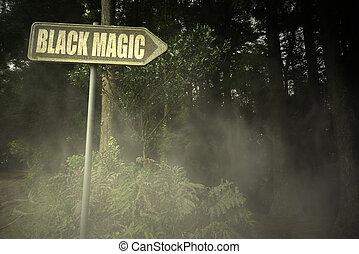магия, текст, зловещий, вывеска, черный, лес, старый
