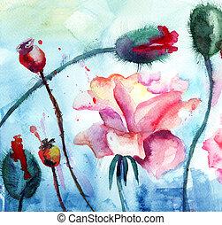 мак, roses, картина, акварель, цветы