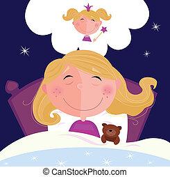 маленький, девушка, dreaming, спать