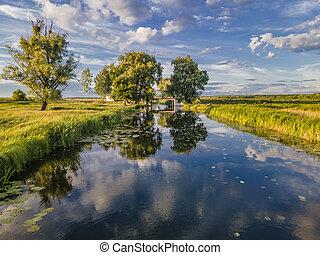 маленький, небо, река, clouds, отражение, удивительно, синий, water.
