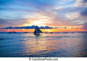 маленький, парусная лодка, philippines, закат солнца, оглушающий