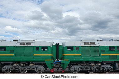 маленький, переход, trains., поезд, роль, портал, sides, между, электрический, коридор, русский, кабина, два