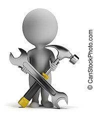 маленький, ремонтник, 3d, -, люди