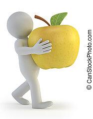 маленький, 3d, -, яблоко, люди