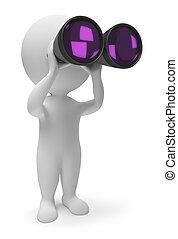 маленький, binoculars, 3d, -, люди