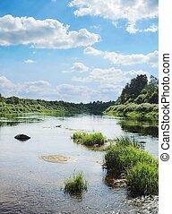 маленький, islands, трава, зеленый, река
