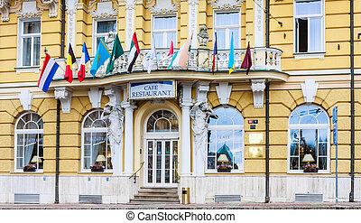 маленький, lazne, чешский, (marienbad), pacifik., -, marianske, спа, богемский, фрагмент, grandhotel, запад, республика, центр, город