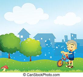 мальчик, велосипед, держа