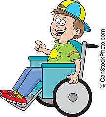 мальчик, инвалидная коляска