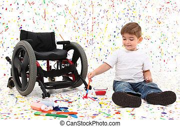 мальчик, инвалидная коляска, картина, ребенок